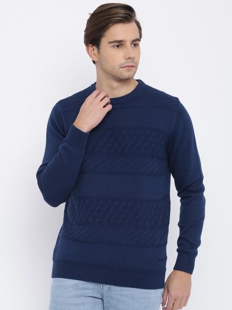 Wrangler Men Blue Self Design Pullover