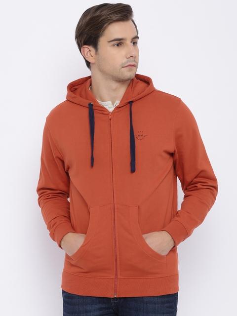 Wrangler Men Rust Orange Solid Sweatshirt