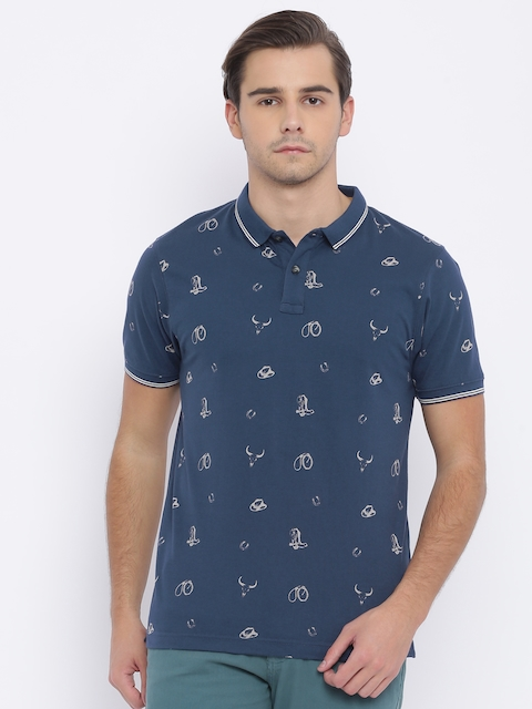 Wrangler Men Navy Blue Printed Polo Collar T-shirt  available at myntra for Rs.1895
