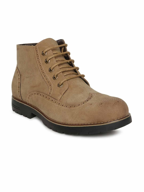 Duke Men Beige Perforations Synthetic Suede Mid-Top Flat Boots