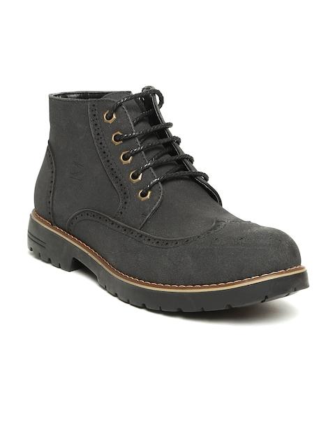 Duke Men Charcoal Grey Flat Boots