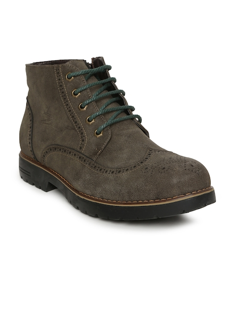 Duke Men Brown Perforations Synthetic Suede Mid-Top Flat Boots