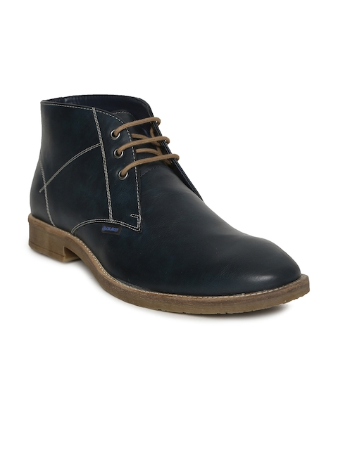 Duke Men Navy Blue Solid Synthetic Leather Mid-Top Flat Boots