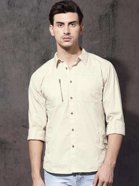 RDSTER Men Beige Regular Fit Solid Casual Shirt
