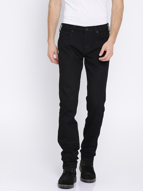 Wrangler Men Black Regular Fit Mid-Rise Clean Look Stretchable Jeans