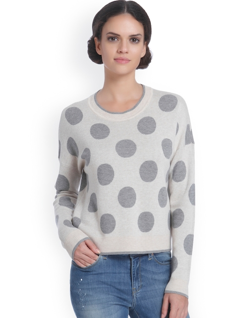 ONLY Women Beige & Grey Self Design Pullover