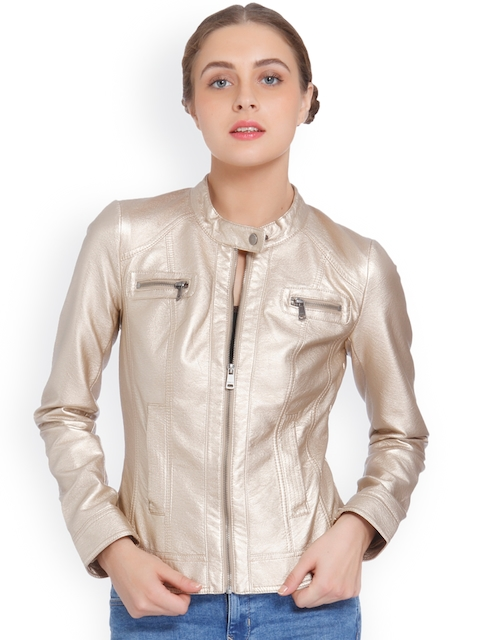 ONLY Women Gold-Toned Solid Biker Jacket
