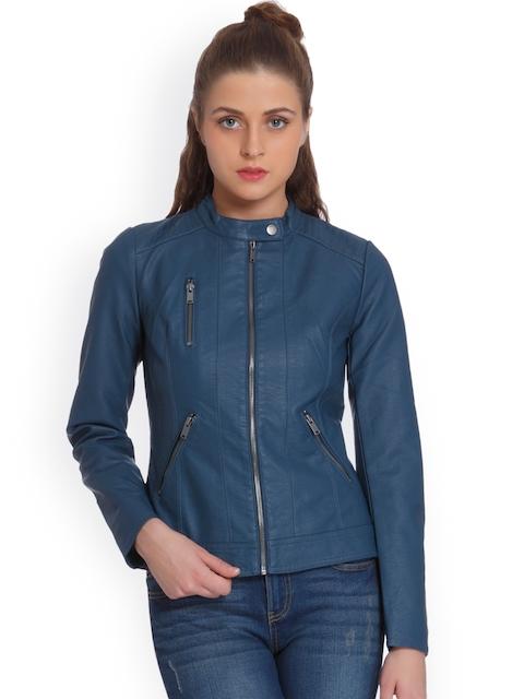 ONLY Women Blue Solid Biker Jacket