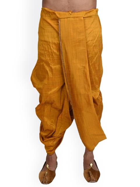Deyann Men Yellow Dupion Silk Dhoti