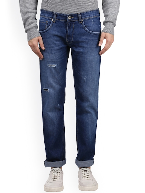 Park Avenue Men Blue Tapered Fit Low-Rise Mildly Distressed Stretchable Jeans