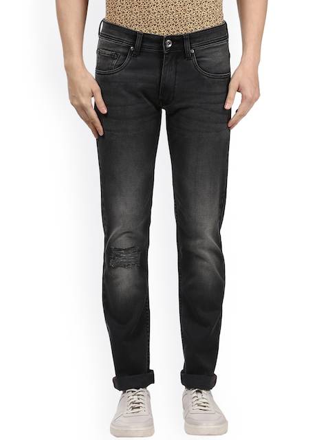 Park Avenue Men Black Tapered Fit Low-Rise Mildly Distressed Stretchable Jeans