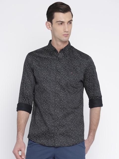 Tommy Hilfiger Men Black New York Slim Fit Printed Casual Shirt