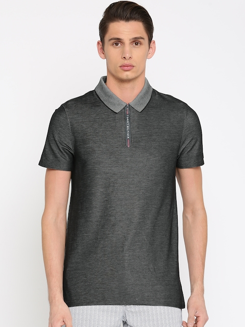 Tommy Hilfiger Men Black Self Design Polo Collar T-shirt