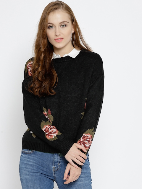 Vero Moda Women Black Self Design Pullover