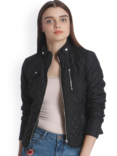 Vero Moda Women Black Solid Quilted Jacket
