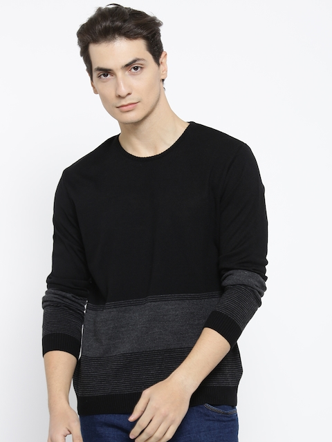 Mast & Harbour Men Black & Charcoal Grey Striped Sweater