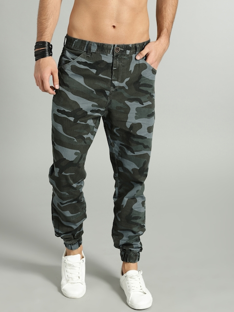 Roadster Men Blue & Green Regular Fit Printed Joggers