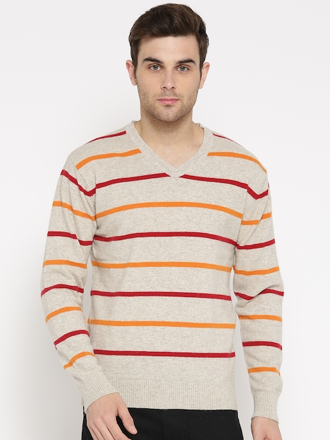 Mast & Harbour Men Beige Lambs Wool Striped Sweater