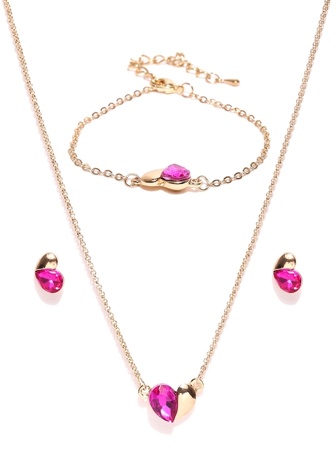 YouBella Gold-Toned & Pink Stone-Studded Jewellery Set