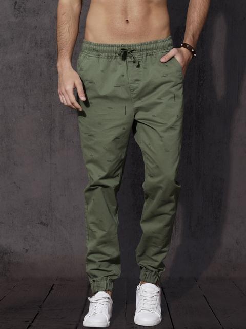 Roadster Men Green Regular Fit Printed Joggers