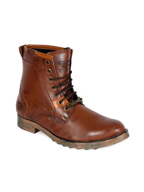 bacca bucci Men Brown Solid Synthetic Leather High-Top Flat Boots