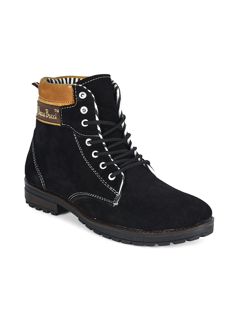 bacca bucci Men Black Solid Suede High-Top Flat Boots