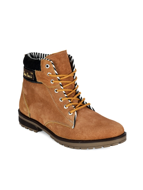 bacca bucci Men Tan Solid Suede High-Top Flat Boots