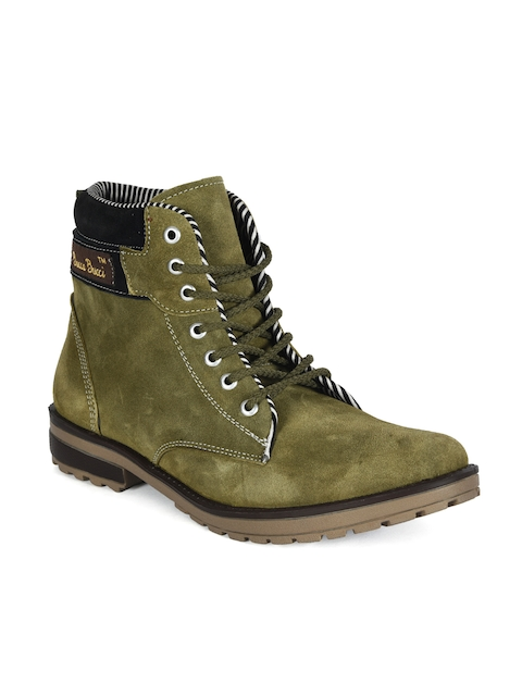 bacca bucci Men Olive Green Solid Suede High-Top Flat Boots