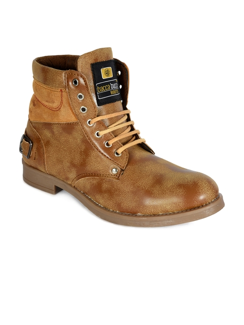 bacca bucci Men Tan Solid High-Top Flat Boots