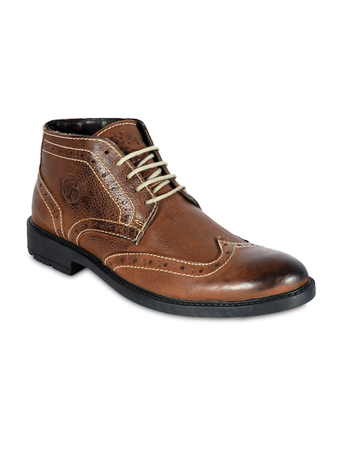 bacca bucci Men Brown Solid Leather Mid-Top Flat Boots