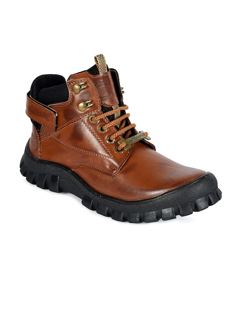 bacca bucci Men Brown Solid High-Top Flat Boots