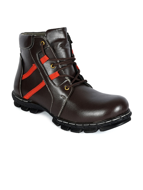 bacca bucci Men Brown Solid High-Top Flat Boots  available at myntra for Rs.599