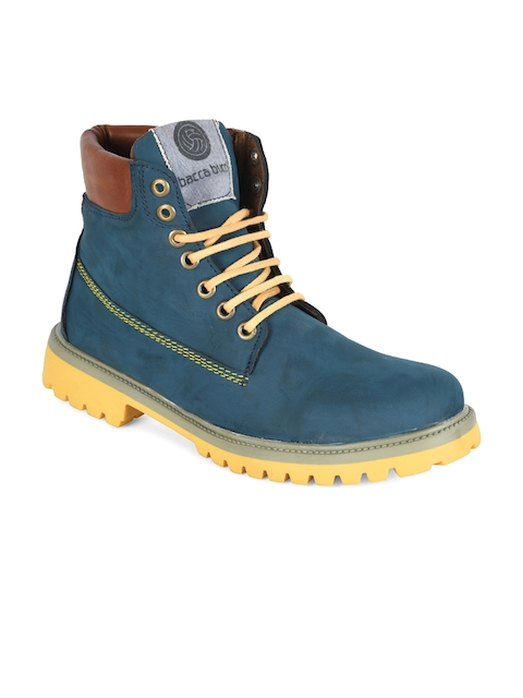 bacca bucci Men Blue Solid Leather High-Top Flat Boots