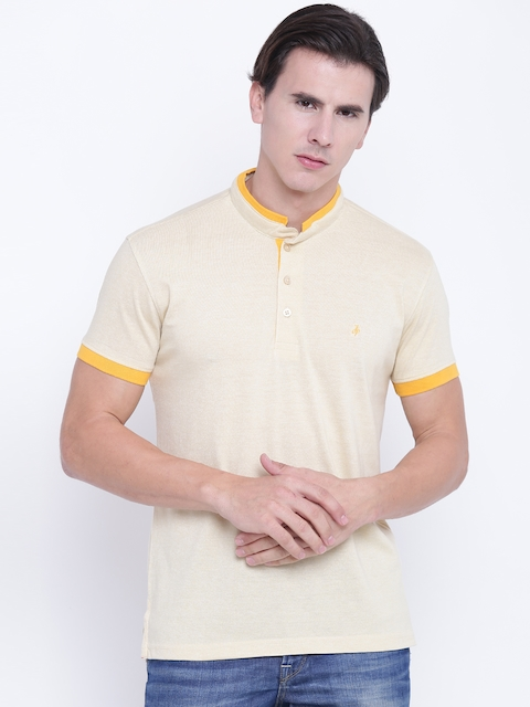 John Players Men Beige Solid Stand Collar T-shirt