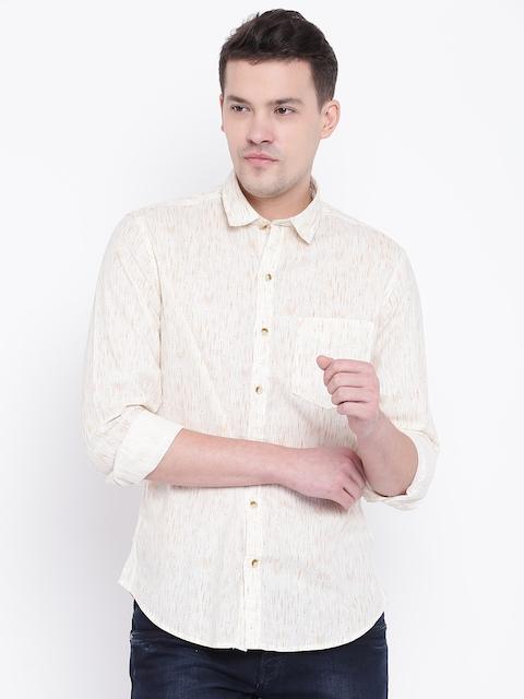 John Players Men Beige Trim Fit Printed Casual Shirt