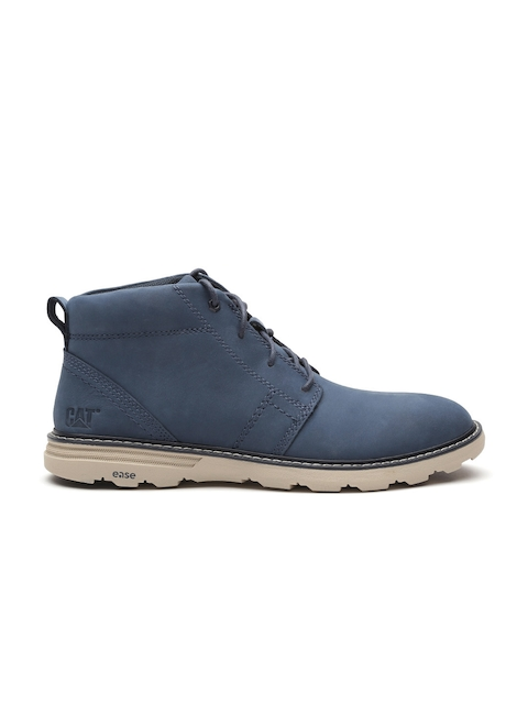 CAT Men Navy Blue Solid Leather Flat Boots