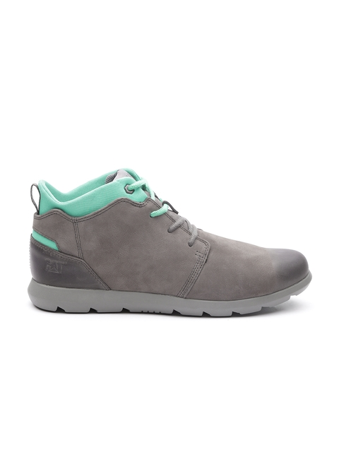 CAT Men Charcoal Grey & Sea Green Colourblocked Leather Mid-Top Flat Boots