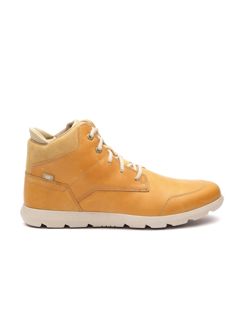 CAT Men Mustard Yellow Solid Leather Mid-Top Flat Boots
