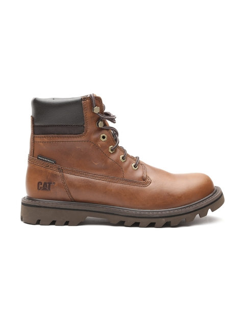 CAT Men Brown Solid Leather High-Top Boots