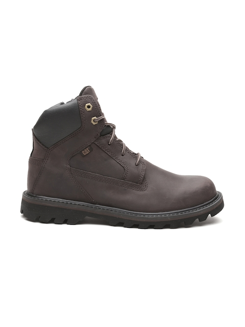CAT Men Coffee Brown Solid Leather Mid-Top Boots