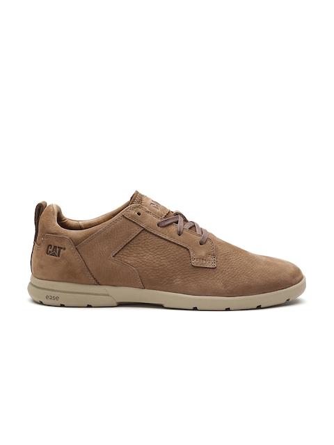 CAT Men Brown Leather Sneakers