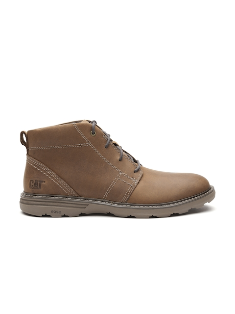 CAT Men Brown Solid Leather Mid-Top Boots