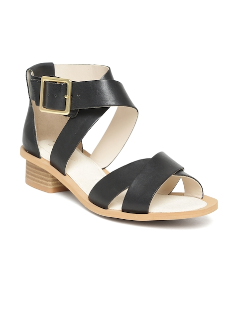 Clarks Women Black Mid-Top Leather Sandals