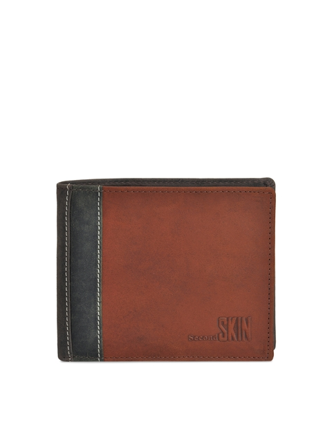Second SKIN Men Tan & Grey Solid Two Fold Wallet