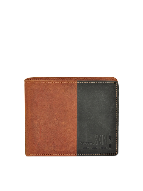 Second SKIN Men Tan & Black Solid Two Fold Wallet