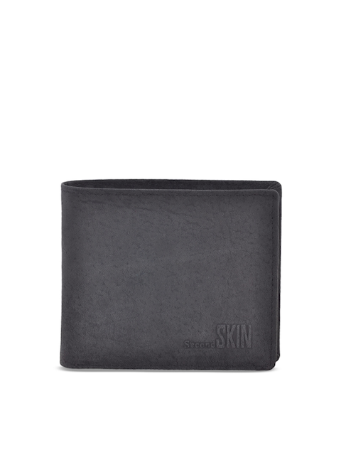 Second SKIN Men Black Solid Two Fold Wallet