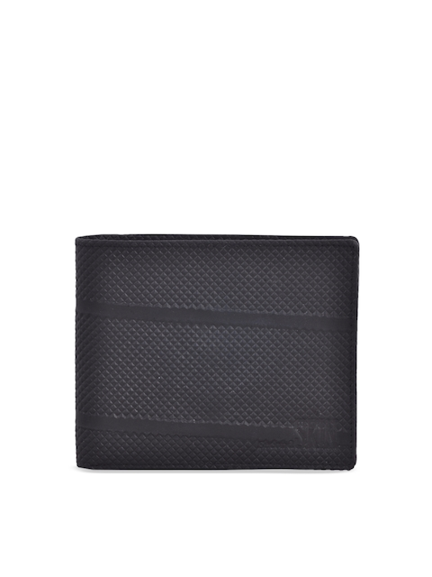 Second SKIN Men Black Textured Two Fold Wallet
