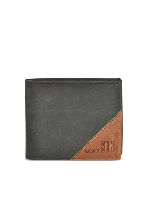 Second SKIN Men Black & Tan Solid Two Fold Wallet