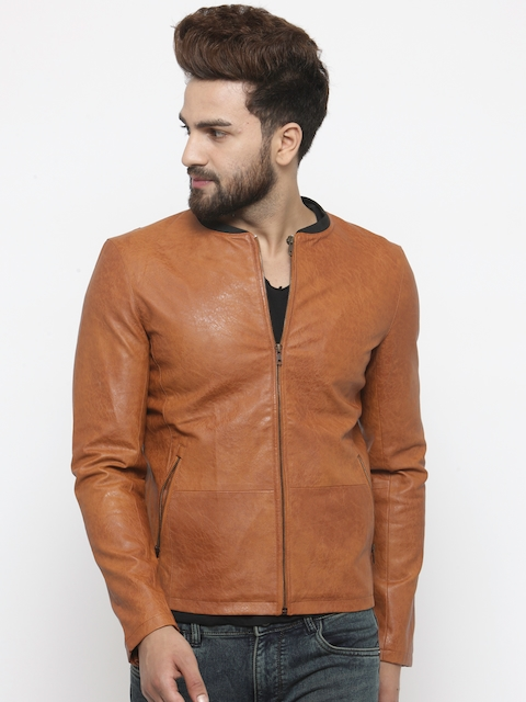 Monteil & Munero Men Tan Solid Varsity Jacket  available at myntra for Rs.3599