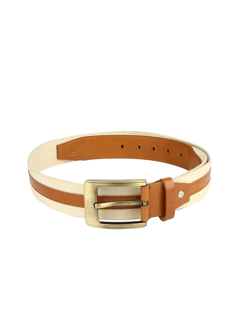Genuine Leather and Cotton Canvas Beige & Tan Mens Belt